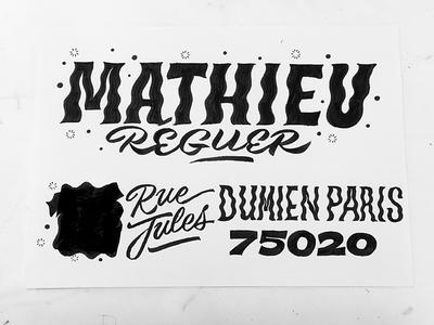 Mathieu illustration typeface font type typography sketch lettering envelope