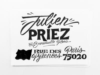 Julien illustration typeface font type typography sketch lettering envelope