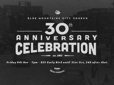 BMCC 30th Anniversary anniversary type typography losttype cubano celebration noise 40s grain church
