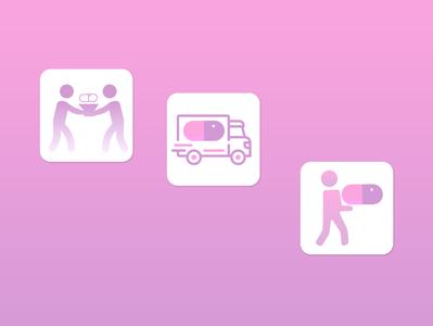 Medical delivery app icons app vector illustration design ui flat minimal