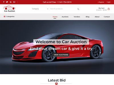Car Auction Web Design illustration photoshop car auction web design branding ui graphic design