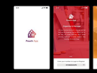 Pouch App branding logo graphic design 3d ui