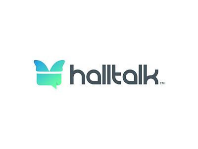 Halltalk bubble logomark monogram media social icon app talk identity branding logo design logo
