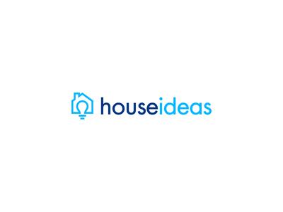 House ideas magazine real estate logomark blue bulb idea house icon monogram identity branding logo