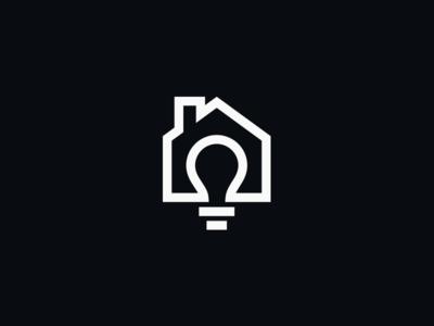 House Ideas real estate house light bulb symbol icon logotype logomark logo design monogram logo identity branding