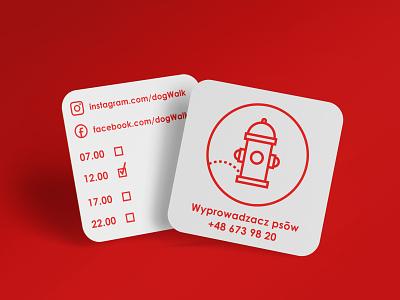 4. Dog walker red business card hydrant dog walker branding illustration vector logo design