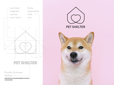 46. Pet shelter care animals shelter pet dog branding logo vector illustration design