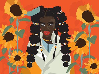 Sunflower love traditionalart illustrator southafrica graphicdesign illustration