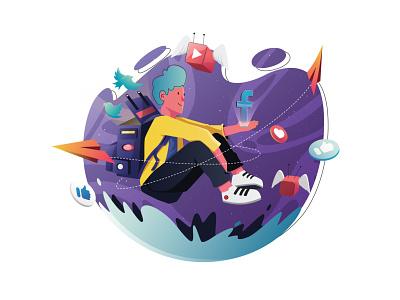 Digital Marketing website illustrations digital illustration character flat vector illustration youtube twitter fb galaxy vector digital marketing marketing
