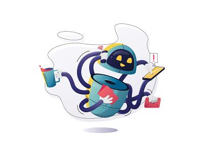 Multitasking Robot vector illustration website illustrations vector flat illustration flat multitasking robotics robot
