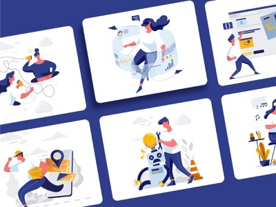 Bubbly Illustration virtualreality music delivery webdesign disconnect error vector art vector illustration flat illustration