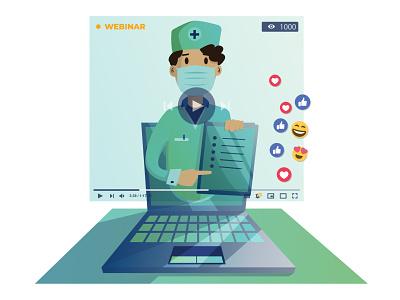Webinar illustration art vector flat doctor live chat livestream webinar