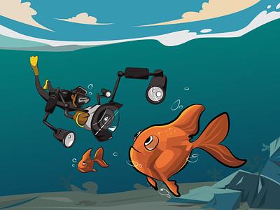 Underwater Photography illustration art vector flat fish photography underwater