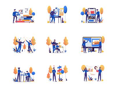 Modern Illustrations success chart experiment error design flat illustration colorful vector art vector illustration