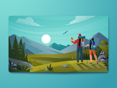 Landing Page Illustration landscape illustration hiking travelling landing page vector illustration landing page illustration landing page design