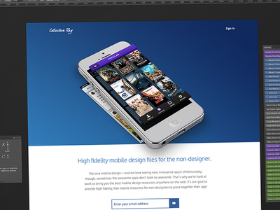 Coming Soon - Landing Page ui user interface mobile web website coming soon sign up landing page ios iphone retina psd free freebies resources photoshop