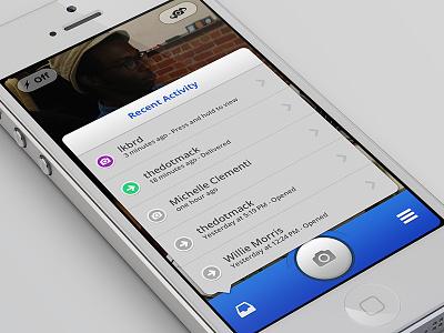 Snapchat Redesign - iPhone UI ui user interface snapchat redesign mobile ios photoshop retina camera popover rebound