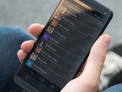 Inbox — Android UI ui user interface android mobile dark retina chat messaging list list view
