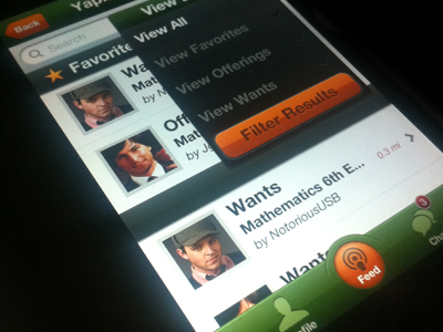 Main Feed On-Screen ui user interface buttons iphone ios app mobile green