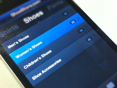 ShoeStore.com ui user interface buttons iphone ios app mobile dark