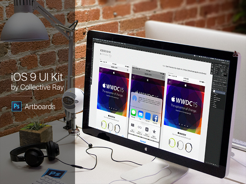iOS 9 UI Kit - Artboards PSD by Brian Benitez for Collective Ray on