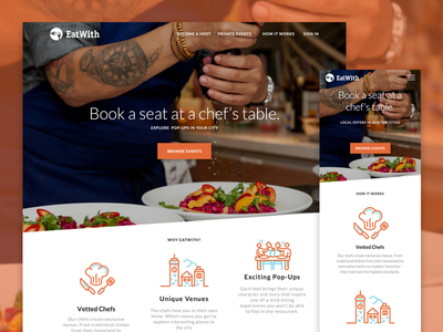 EatWith - Landing Page Redesign cooking marketing homepage ui