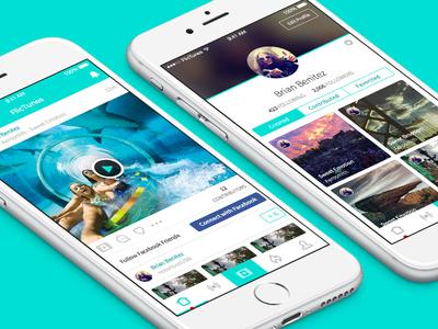 FlicTunes - iPhone UI social profile feed ios ui