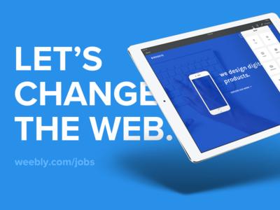 We're Hiring Designers - Weebly mobile web weebly job hiring