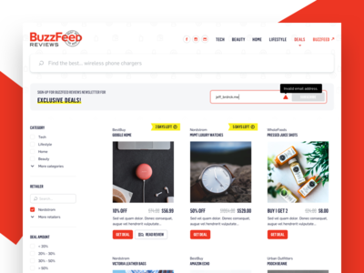 BuzzFeed Reviews - Ecommerce Web sort filter products userexperience ux ecommerce responsive web user interface ui