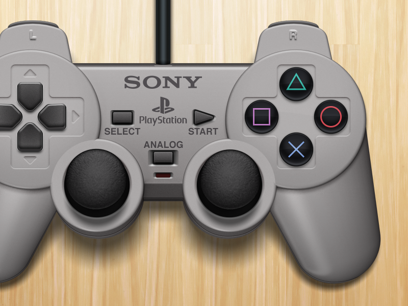DualShock illustration mac gray wood controller playstation dualshock sony ps1 psone psx emulation openemu video games 3d