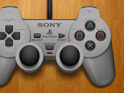DualShock (v2) controller dualshock emulation gray illustration mac openemu playstation ps1 psone psx rebound sony wood video games 3d