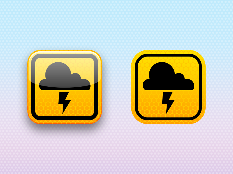 When in Rome yellow soapbox ios wwdc iphone icon metal sign reflection reflective weather cloud thunderstorm ios 7 weather alert usa weather alert flat design flat design