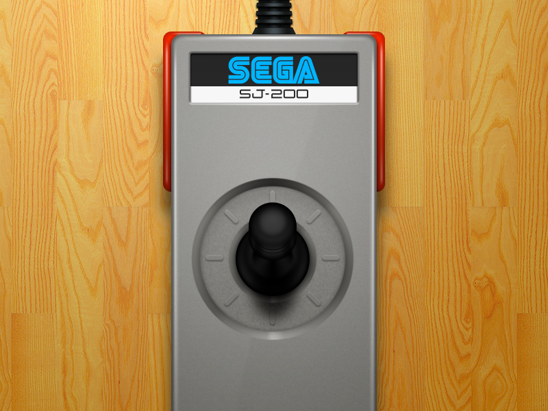 Sega SJ-200 joystick (SG-1000 console) illustration openemu controller emulation plastic joystick sega silver video games