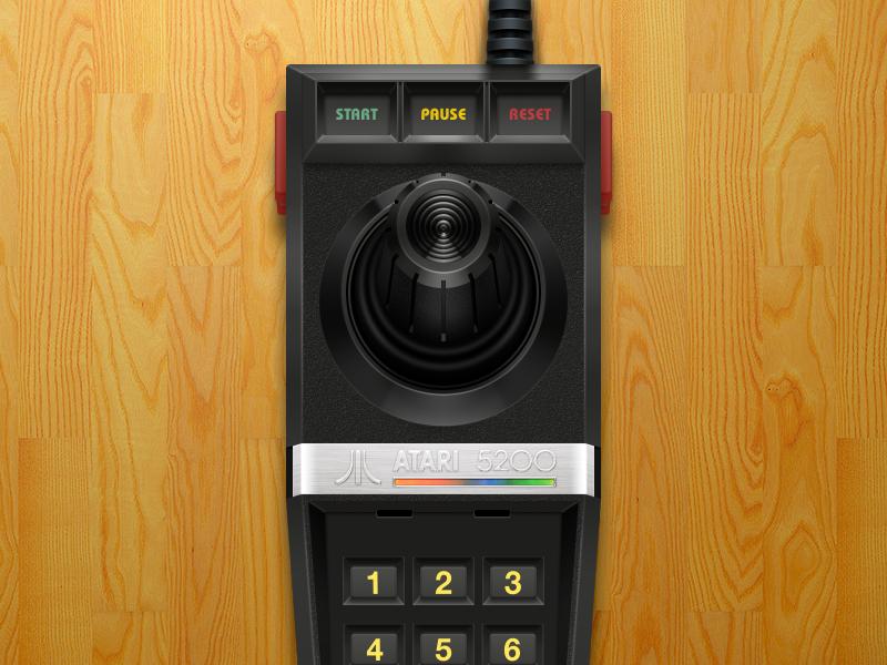Atari 5200 Joystick video games atari 5200 joystick black plastic emulation controller openemu illustration
