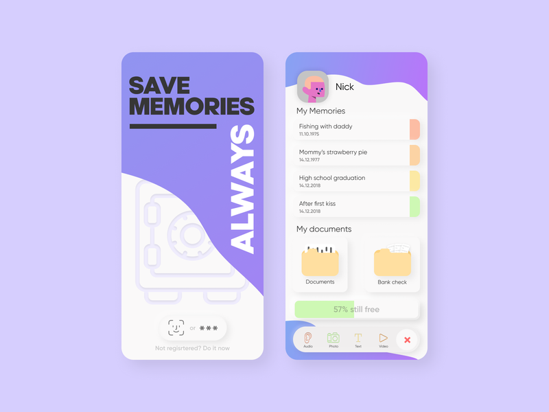 Memories Safe - All in 1 App shelter white minimal interface safebox colorful ui mobile design