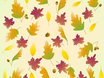 Autumn colors ipad adobe illustrator app seasonal maple oak background graphic art vector art vector illustrator illustration gradients acorns nature leaves autumn