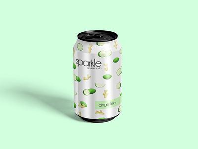 sparkle//a ginger lime flavored soda minimal package design vector art lime ginger beverage fruits watercolor vector creative illustration adobe photoshop graphic design branding design