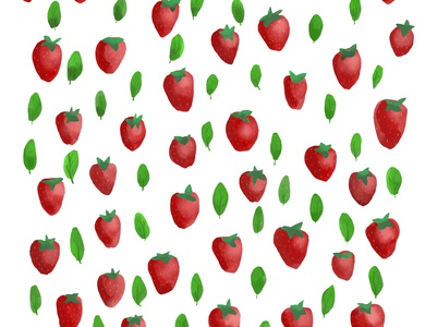 Strawberries and basil leaves watercolor illustrations
