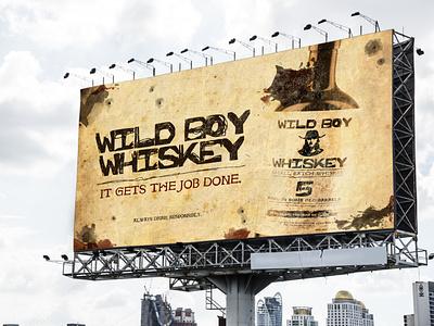 Wild Boy Whiskey billboard mockup advertisement creative packaging design alcohol branding whiskey and branding whiskey mockup logo adobe photoshop branding design graphic design
