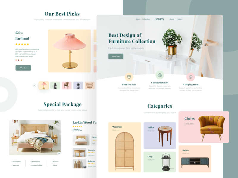 HOMIES - Furniture Landing Page web minimal interior design user interface homepage website photography card layout design clean landing page furniture web design ux ui