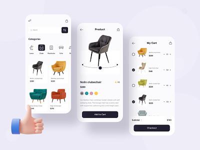 Furniture E-Commerce App Concept ui illustration ux mobile ui mobile app minimal design application app design app
