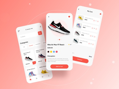 Shoe E-Commerce App ux typogaphy branding color logo flat nike air nike addidas shoes app shoe uiux ui minimal application mobile app app