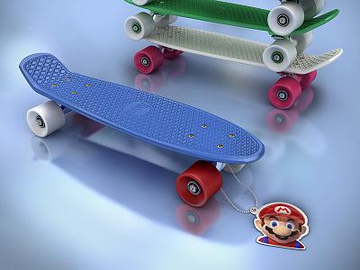 Super Mario Penny board 3d super mario penny skateboard skateboard
