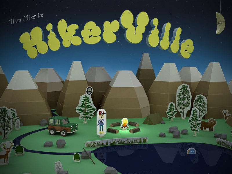 Hiker Mike in Hiker Ville mountains lake moon toys paper toys hiking