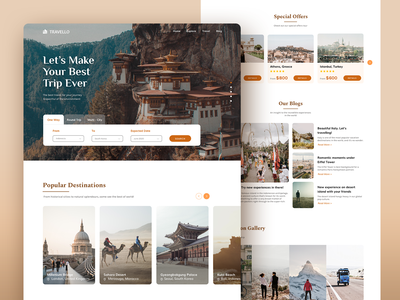 TRAVELLO - LANDING PAGE web design layout website ui homepage web design travelling travel landing page