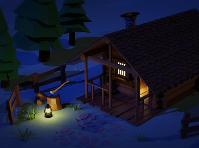 Cabin in the woods 3d art lowpoly wilderness cabin blender3d