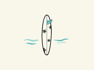 Surfboard vector illustration beach surf ocean fin longboard flowers surfing surfboard