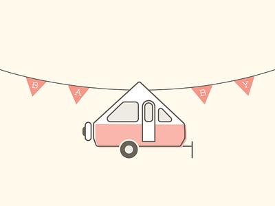 Baby On Board illustration design flags babypink trailer camper baby baby shower illustration