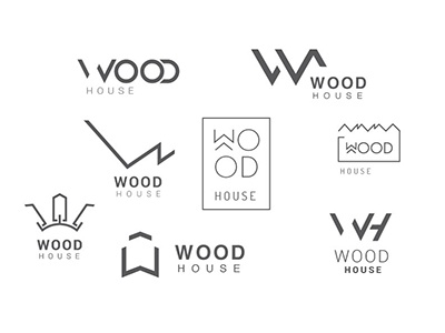 Wood House Logo design logo house building identity