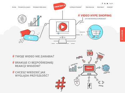 Landingpage video buy shop e-commerce flat tags